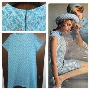 1960s blue shift dress